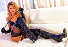 dannii b, british, glamour, model, sitting, sofa, sexy dressed, pvc, bra, overknee boots, lycra, gloves, fetish babe, mistress, whip, hi-q, high boots, babes in boots, dressed for sex