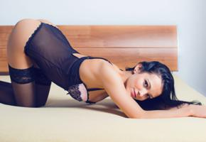 sapphira, young, erotic model, sexy babe, posing, bed, smile, lingerie, mesh, body, stockings, erotic, lingerie series, widescreen cut