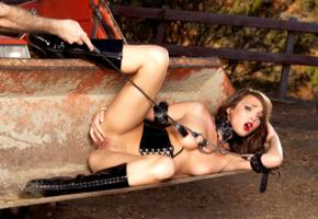 charlie laine, whip, tractor, nude, sexy, pussy, boots, tits, collar, chains, tied, slave, shiny, pvc, underbust corset, knee boots, legs, shaved, cunt, leather, cuffs, metal chains, whipped, bdsm, fetish babe