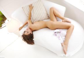 little caprice, model, brunette, beauty, nude, smile, sexy legs