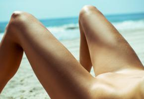 legs, beach, laying, shaved pussy, pussy, sun tanning, tanned
