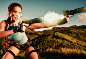bianca beauchamp, busty, canadian, glamour, cosplay, fetish model, fetish queen, milf, firing pistols, tight clothes, latex, tomb raider set 2, girls and guns, lara croft, sexy, shiny, rubber, fetish, bianca, fetish babe, widescreen cut