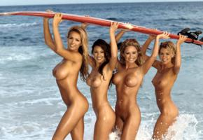 playboy, model, 4 babes, kalin olson, brunettes, blondes, beach, naked, surfboard, tits, nipples, asses, surf, tanned, smiles, brooke richards, jennifer braff, nice tits, sea