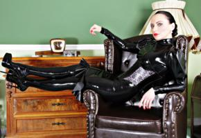 nadja, german, amateur, glamour, fetish model, real life, mistress, domina, fetish diva nadja, armchair, tight clothes, latex, stockings, underbust corset, fetish babe, red lips, shiny, rubber, fetish