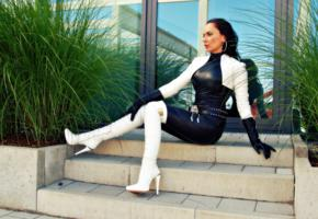 nadja, german, amateur, fetish model, mistress, domina, fetish diva nadja, posing, outdoor, tight clothes, shiny, leather, catsuit, belt, gloves, bolero jacket, overknee boots, lady, shiny clothes, fetish babe, babes in boots