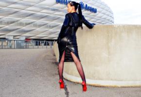 nadja, german, fetish model, real life, mistress, domina, fetish diva nadja, posing, outdoor, munich, allianz arena, fetish babe, shiny, leather, skirt, corset, bolero jacket, stockings, legs, high heels, nice rack, tight clothes