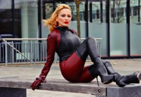 nadja, german, amateur, fetish model, real life, mistress, domina, fetish diva nadja, sitting, outdoor, tight clothes, winered, shiny, leather, bolero jacket, crotch boots, fetish babe, red lips, here she is blonde, shiny clothes, gloves, overknee boots, high boots, babes in boots