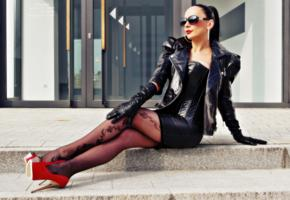 nadja, german, amateur, fetish model, brunette, milf, real life, mistress, domina, fetish diva nadja, posing, munich, allianz arena, tight clothes, shiny, corset, miniskirt, jacket, gloves, stockings, legs, high heels, fetish babe, sunglasses, shiny clothes, red lips