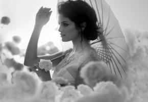 op art, selena gomez, umbrella, flowers
