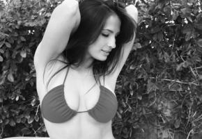 model, op art, breasts, smile, shay maria, bikini, tits