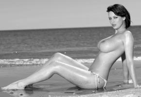 model, unknow, op art, breasts, big tits, tits, boobs, wet, beach, sea, black and white