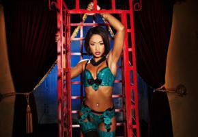 skin diamond, slim, exotic, american, adult model, ebony, cage, latex, lingerie, bra, garterbelt, stockings, erotic, fetish babe, lingerie series, bellybutton, piercing, ebony gold
