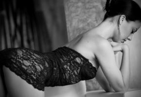 model, unknow, op art, ass, panties, black dress