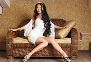 mariko a, brunette, asian, non nude, dress, legs, high heels, sofa, hi-q