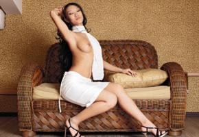 mariko a, brunette, asian, topless, nice tits, dress, legs, high heels, hi-q