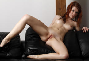mia sollis, lynette, margy, redhead, naked, tits, perky nipples, shaved pussy, labia, ass, spread legs, high heels, sofa, hi-q