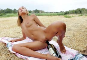 katya clover, clover, mango, caramel, naked, outdoors, tanned, masturbating, wine bottle, insertion, small tits, nipples, shaved pussy, labia, spread legs, hi-q