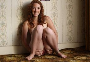 west cate red, redhead, squatting, spreading pussy, pussy, labia, smile