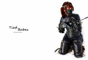 redhead, fetish, kneeling, tight clothes, lycra, catsuit, black, leather, bondage gear, completely, fixed, slave, speechless, bound, whip, masked, fetish babe, minimalist wall, own cut, bdsm, widescreen cut