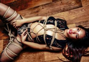 slim, exotic, asian, glamour, fetish, sexy babe, laying, tied, bound, rope, bdsm, erotic, fetish babe, lingerie, fishnet, pantyhose, fixed, bondage, widescreen cut