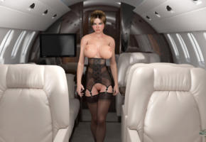big tits, pussy, labia, nipples, aircraft, stockings