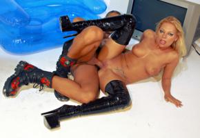 milf, pornactress, pvc, crotch boots, legs, spread wide, shaved, whore, penis, hardcore, fucked, fetish babe, plateau boots, spreading legs, tits, pussy, shaved pussy, dick