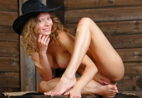 anne p, oliwia, oliwia a, naked, cowgirl, big tits, puffy nipples, shaved pussy, labia, spread legs, pierced navel, hat, smile, hi-q