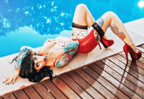 brunette, curvy, alternative, tattoo, fetish model, busty, outdoor, pool, tight clothes, multicolor, latex, miniskirt, stockings, legs, high heels, amazing eyes, pin up style, shiny clothes, fetish babe, body art, pin up, hugov photo