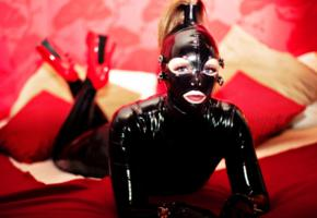 german, fetish model, tight clothes, latex, catsuit, fullsuit, hood, fetish babe, red lips, shiny clothes, rubber, fetish, rubberdoll