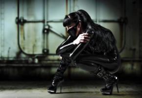la trisha, brunette, german, fetish model, long hair, tight clothes, latex, catsuit, fullsuit, masked, fetish babe, pvc, ankle boots, shiny, rubber, fetish
