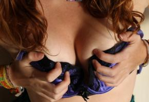 cate red, redhead, purple, bra, boobs, tits