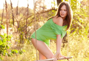 ariel b, metart, cute brunette, in nature, pretty face, brunette, swing