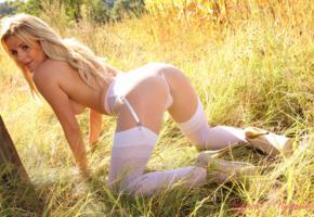 amy green, nature, pantyhose, stilettos, blonde, stockings, grass, outside, legs, thong, panties