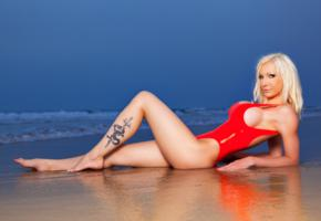 susan wayland, blonde, swimsuit, latex, red, beach, big tits, tattoo, hi-q, sea, german, sexy babe, long hair, fetish model, posing, laying, outdoor, tight clothes, hot, body, erotic, fetish babe, teasing, smile, shiny, rubber, fetish, shiny clothes