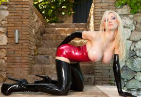 susan wayland, blonde, latex, dress, spike heels, topless, big tits, pierced nipples, hi-q, german, sexy babe, long hair, enhanced boobs, kneeling, doggy, teasing, tits out, tight clothes, red, minidress, black, stockings, pvc, ankle boots, oily body, shiny clothes, babes in boots, fetish babe, shiny, rubber, fetish