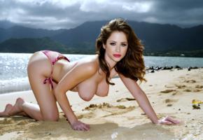 emily addison, brunette, beach, bikini, topless, big tits, hi-q, tits, boobs, sea