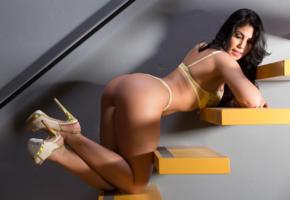 vanusa hoppe, ass, butt, lingerie, brunette, hot ass, heels, stairs, erotic, sexy, ass wallpaper, lingerie series, legs, high heels, nice rack, sexy ass