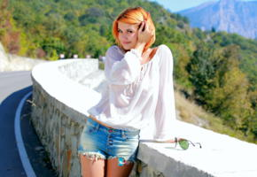 violla a, sunny, metart, see through, jeans shorts, redhead, sunglasses