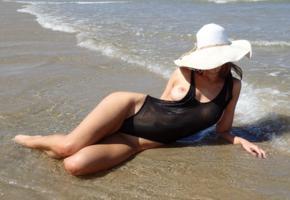 beach, sand, tits, nipples, swimsuit, sea, wet, big tits, boobs, hat