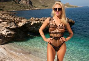 brigitta, blonde, beach, swimsuit, see through, big tits, nipples, sunglasses, hi-q, sea