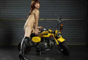 reina yuuki, reina, motorcycle, minimoto, small tits, tiny tits, haired, boots, haired pussy, pussy, tits, asian