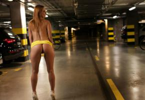 justyna, cars, ass, pussy, sexy, heels, model, garage, long hair, lights, tanned