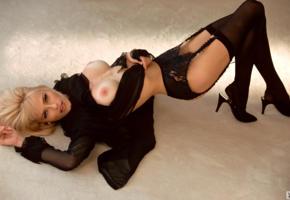 marianne gravatte, stockings, tits, blonde, boobs, suspenders