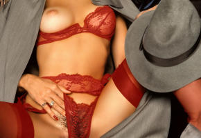 marianne gravatte, stockings, tits, red lingerie, hat, boobs