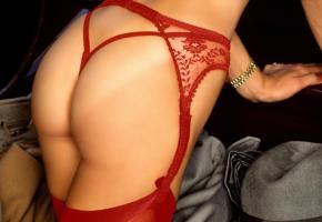 marianne gravatte, stockings, ass, red lingerie, suspenders