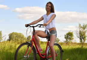 cheyanna, met-art, cute, outdoor, on the bike, jeans shorts