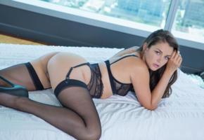allie haze, pornstar, close up, ass, girl, model, lingerie, stockings, black bra, hot, ass wallpaper