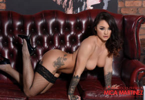 mica martinez, long hair, tattoo, tits, stockings, high heels, couch, fishnet