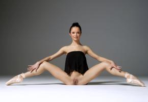 magdalena, brunette, ballerina, semi naked, shaved pussy, labia, spread legs, ultra hi-q, spreading legs, pussy, flexible