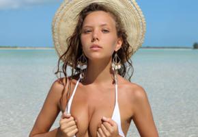 katya clover, clover, mango, caramel, beach, swimsuit, tits, hat, hi-q, sea, perky nipples